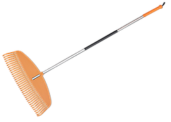 Граблі пластикові TQ, 35 зубців, з алюмінієвим черешком, TQ-G35TA