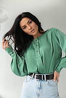 Легка блузка з манжетами SOBE - зелений колір, S (є розміри), фото 1
