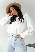 Легкая блуза с манжетами SOBE - молочный цвет, M (есть размеры), фото 1