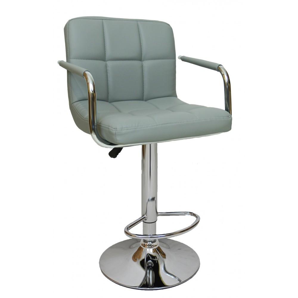 Барний стілець хокер хром хромованою ніжкою і навантаження до 120 кг м'який сірий