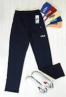 Спортивные штаны мужские прямые, трикотаж, темно-синий