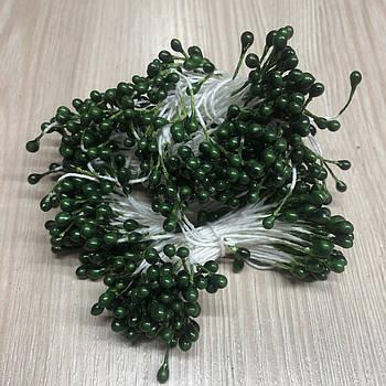 Зеленые тычинки на белой нитке (1 уп.=100 тычинок)  для творчества флористики декорирования