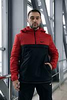 Анорак Nike красный мужской черный теплый ветровка Найк спортивная осенняя весенняя куртка