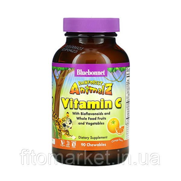 Витамин С для детей с апельсином Rainforest Animalz Bluebonnet Nutrition 90 жевательных конфет