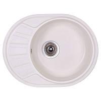 Гранитная кухонная мойка Fosto 5845. Овальная мойка для кухни из искусственного камня белого цвета МойДом