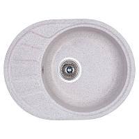 Гранитная кухонная мойка Fosto 5845. Овальная мойка для кухни из искусственного камня серого цвета МойДом