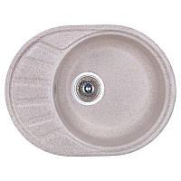 Гранитная кухонная мойка Fosto 5845. Овальная мойка для кухни из искусственного камня бежевого цвета МойДом