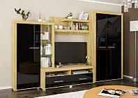 Стінка ТВ Мебель-Сервіс Неон-2 340х218х60,5 дуб золотий\чорний глянець, фото 1