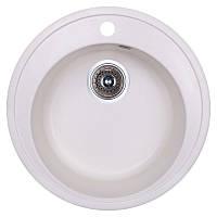 Гранитная кухонная мойка Fosto D510. Круглая мойка для кухни из искусственного камня белого цвета МойДом