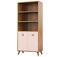 Книжкова шафа Світ Меблів Колібрі 70×161.7×37.8 горіх марино/рожевий