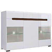 Комод BRW Ацтека КОМ2W1D3S/10/15 150х104х41 білий/білий глянець, фото 1