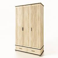 Шафа розпашній Світ Меблів Палермо 3ДШ 134×202×59 дуб сонома, фото 1
