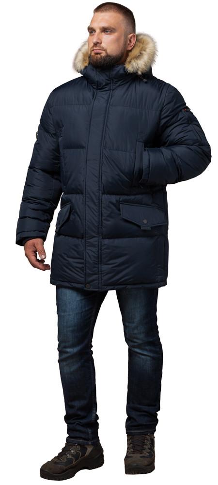 Мужская темно-синяя зимняя куртка большого размера модель 2084