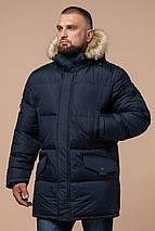 Мужская темно-синяя зимняя куртка большого размера модель 2084, фото 2