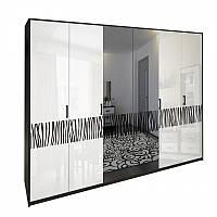 Шафа MiroMark Терра 6Д (дзеркало) 272,6х212,5х55 чорний/білий глянець, фото 1