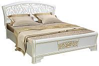 Ліжко двуспальне Світ Меблів Поліна Нова (+каркас) 160х200 білий/білий худ.друк, фото 1
