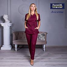 Женские медицинские костюмы Avicenna бордовый 48