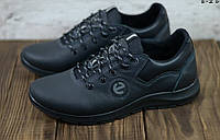 ECCO E-2 мужские кожаные кроссовки YAVGOR экко.