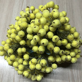 Ягодки сахарные желтые на проволоке тычинки 10 мм для декорирования флористики рукоделия
