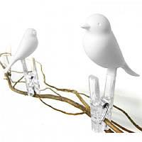 Набор прищепок Птички 4 шт. белый Таиланд 115106