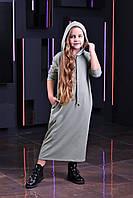 Стильное платье двунитка с капюшоном  от производителя 134-164р, фото 1