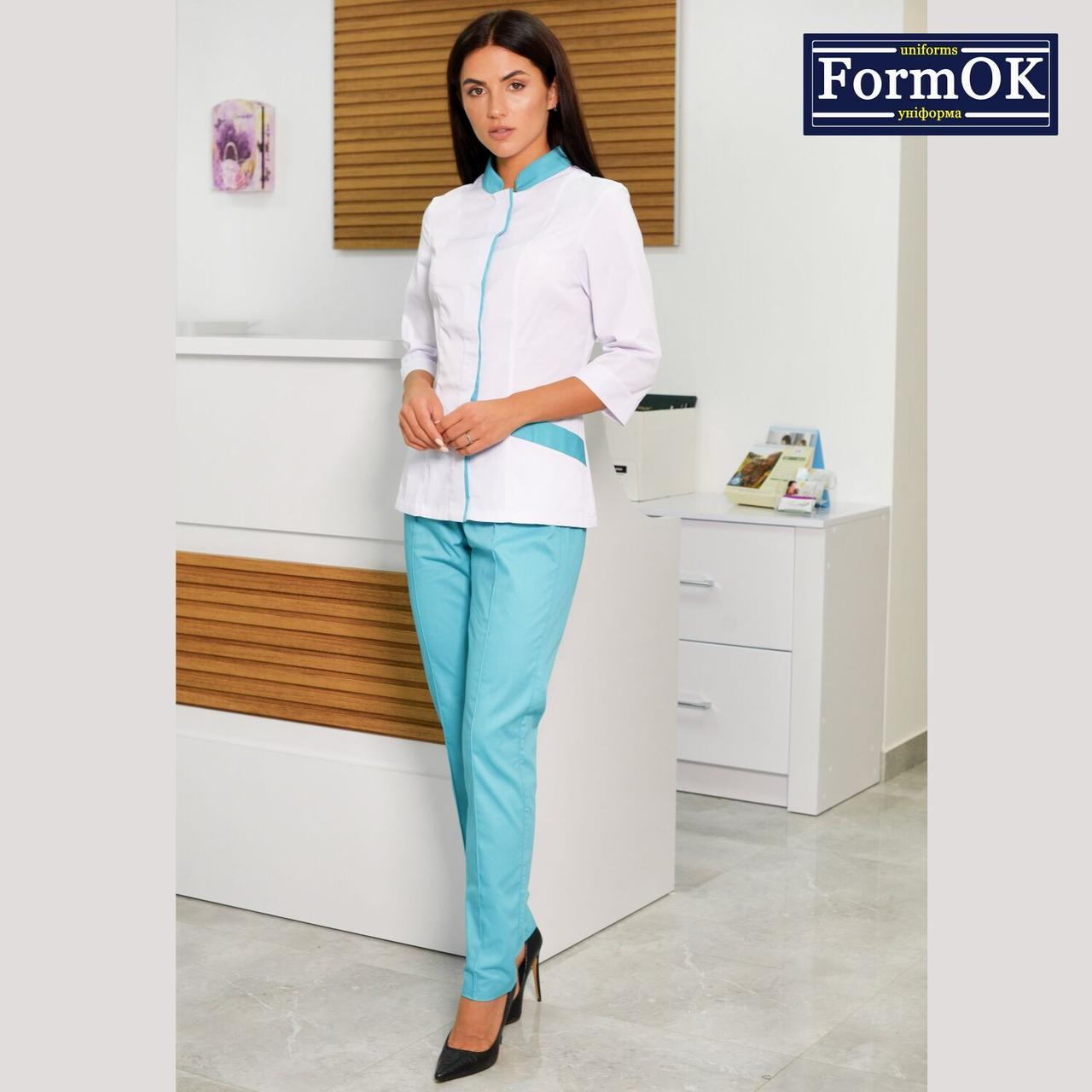 Женские медицинские костюмы Avrora бело-мятный 48
