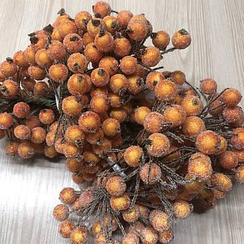 Ягодки сахарные оранжевые на проволоке тычинки 10 мм для декорирования флористики рукоделия