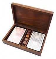 Коробочка для 2-х колод карт + 5 кубиков из красного дерева