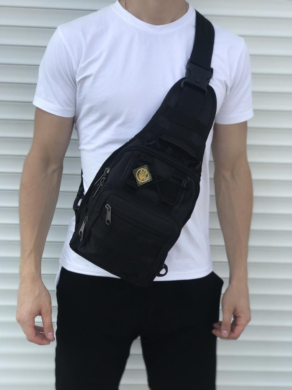 Тактическая черная сумка на плечо