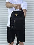 Тактическая черная сумка на плечо, фото 3