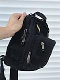 Тактическая черная сумка на плечо, фото 5