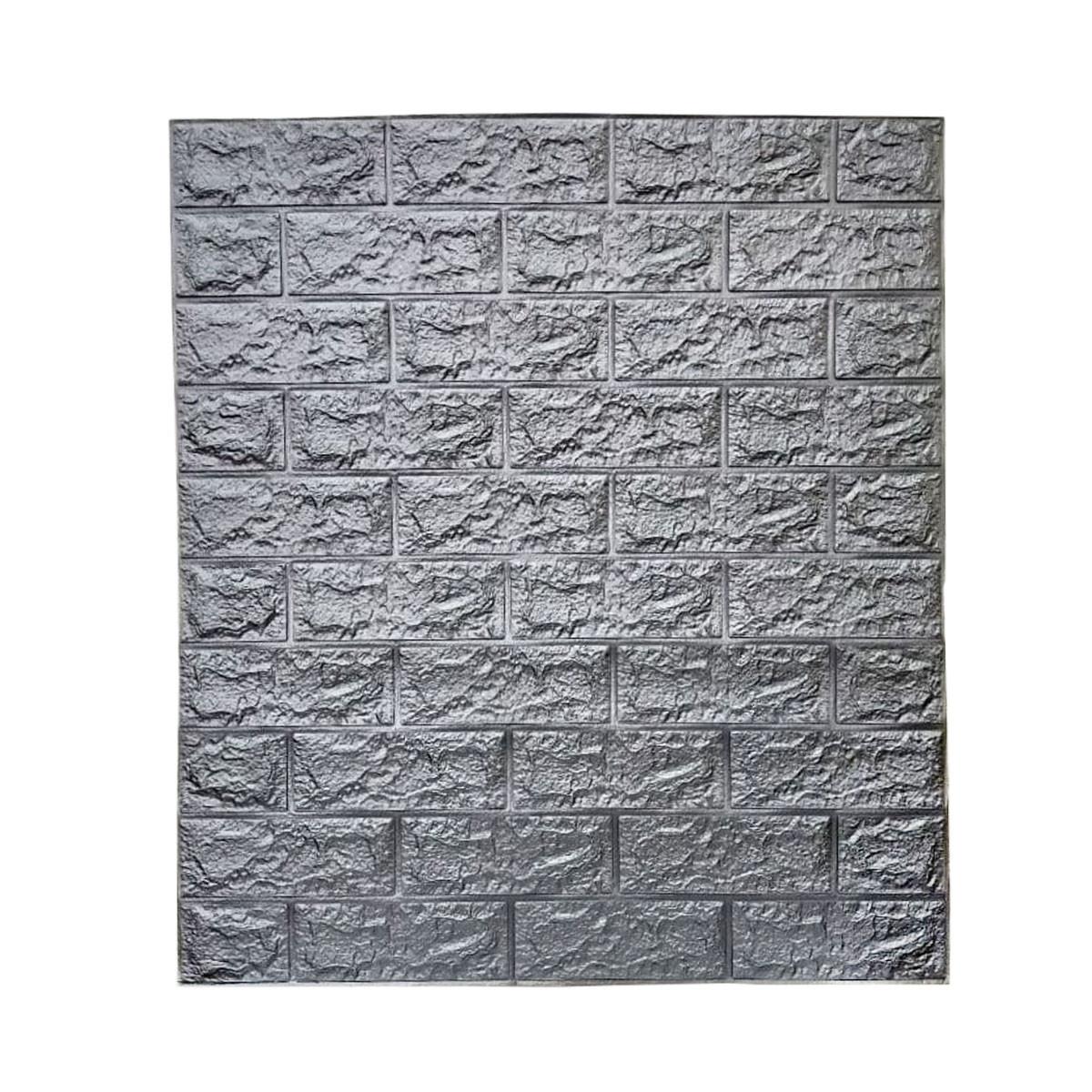 Самоклеюча декоративна 3D панель, цегла / Колір Сірий Металік 700*700*7мм