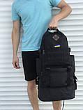 Чорний чоловічий рюкзак з розсувним дном, 40л + 5л, фото 4