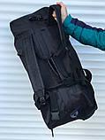 Велика дорожня сумка-рюкзак, чорна (60 л.), фото 3