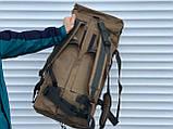 Большая дорожная сумка-рюкзак, оливка (60 л.), фото 5