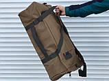 Большая дорожная сумка-рюкзак, оливка (60 л.), фото 6