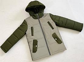 Куртка демисезонная на мальчика Ден светоотражающая оливка 122