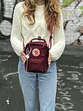 Маленькая практичная сумка Kanken Mini c плечевым ремнем бордовая, фото 3
