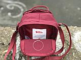 Маленькая практичная сумка Kanken Mini c плечевым ремнем бордовая, фото 4