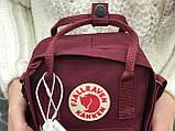 Маленькая практичная сумка Kanken Mini c плечевым ремнем бордовая, фото 6