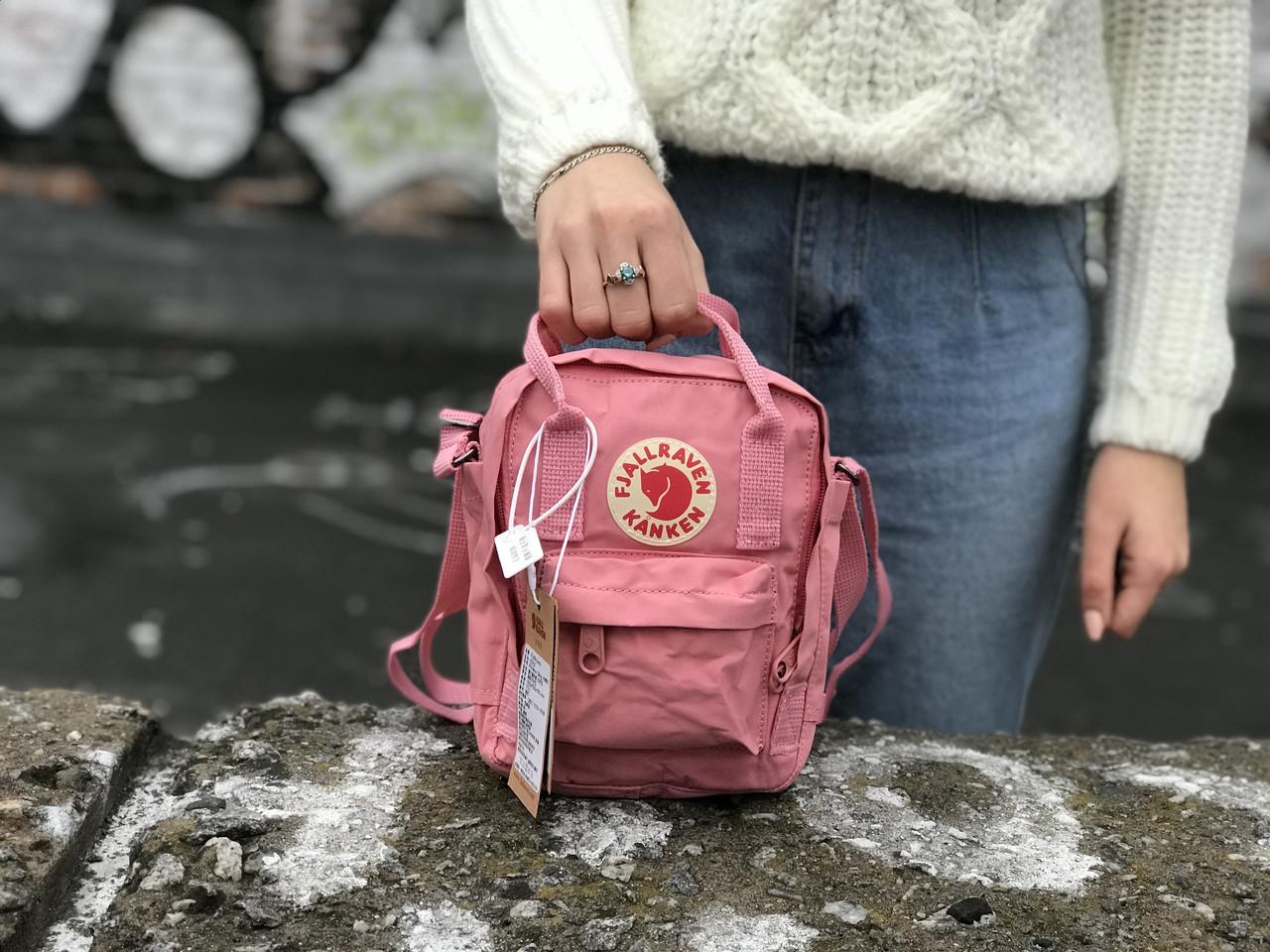 Жіноча сумка Kanken c плечовим ременем, пудрова