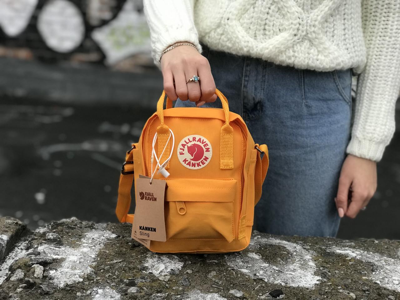 Женская сумка-рюкзак Kanken c плечевым ремнем, рыжая