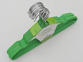 Плічка дитячі метал в силіконовому покритті зеленого кольору, довжина 29,5 см,в упаковці 10 штук, фото 3