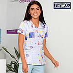 Женский медицинский костюм Асия голубой 50, фото 3