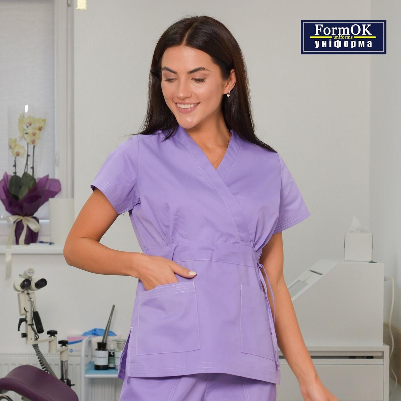 Женская медицинская блуза Эдельвика лиловая 48