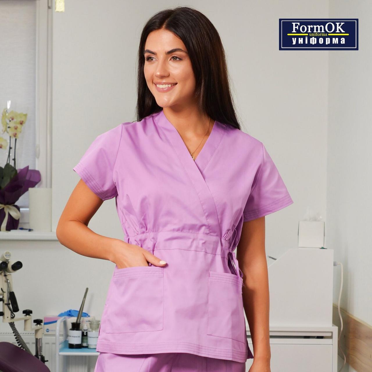 Женская медицинская блуза Эдельвика сиреневая 48