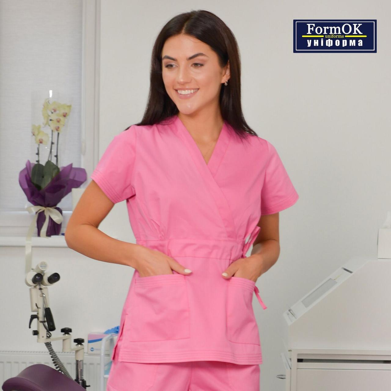 Женская медицинская блуза Эдельвика розовая 54