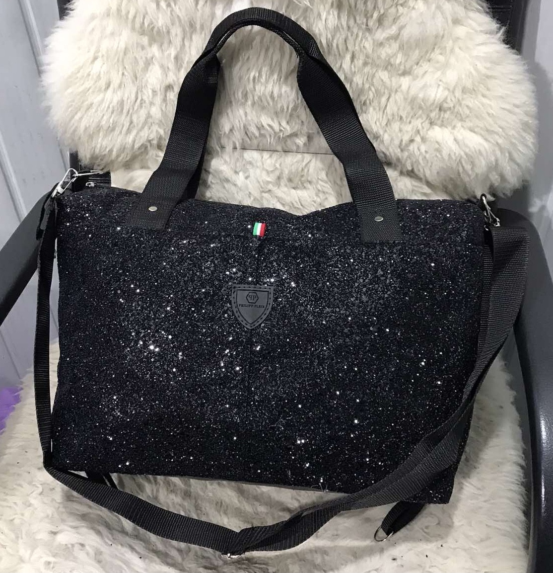 Жіноча дорожня сумка штучна шкіра чорна