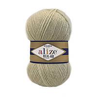 Alize Angora real 40 - 300 бліло салатовий