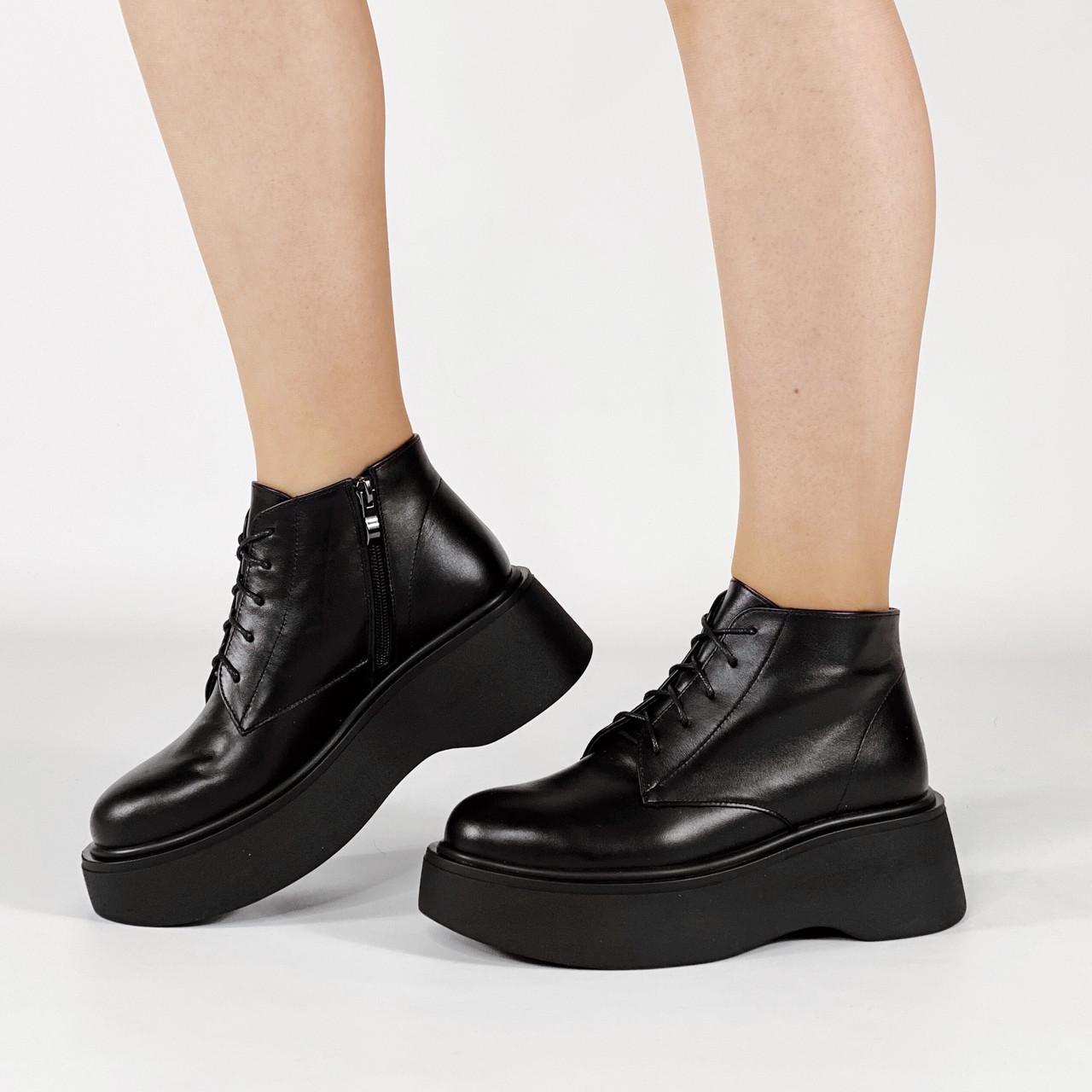 Черевики жіночі шкіряні чорні короткі на шнурках MORENTO демісезонні
